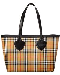 Burberry - The Giant Medium Reversible Vintage Check Canvas & Leather Tote - Lyst
