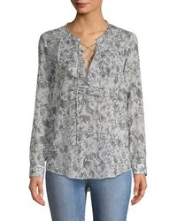 ad0ef8f70e Lyst - Loveshackfancy Baroque Lace Popover Blouse in Black