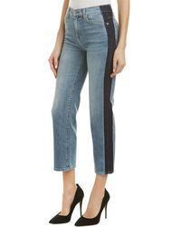 7 For All Mankind - 7 For All Mankind Kiki Gold Coast Waves Cropped Wide Leg - Lyst