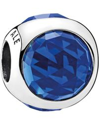 PANDORA - Silver & Royal Blue Crystal Radiant Droplet Charm - Lyst