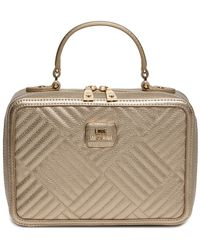 Love Moschino - Shiny Quilted Leather Handle Bag - Lyst