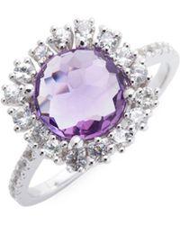 Suzanne Kalan - 0.40 Tcw White Sapphire & Amethyst 14k Bezel Ring - Lyst