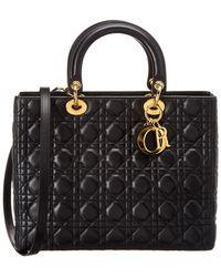 Dior - Black Lambskin Leather Medium Lady - Lyst