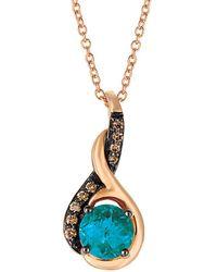 Le Vian - ® Chocolatier® 14k Rose Gold 1.02 Ct. Tw. Diamond & London Blue Topaz Necklace - Lyst