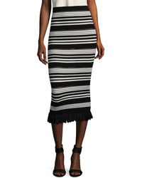 Torn By Ronny Kobo - Stripe Stretch Skirt - Lyst