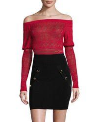 Ronny Kobo - Embroidered Off-the-shoulder Bodysuit - Lyst