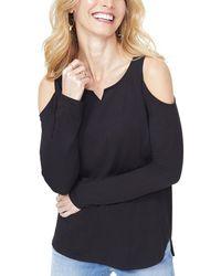 dd895b5bb8787e Lyst - Bobeau Cold Shoulder Ruffle Sleeve Top in Black