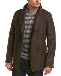 Billy Reid - Wool-blend Leather-trim Bond Peacoat - Lyst