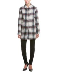 Kenneth Cole - Wool Blended Plaid Peacoat With Mock Neck - Lyst