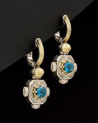 Konstantino - Hermione 18k & Silver 1.08 Ct. Tw. Diamond & London Blue Topaz Earrings - Lyst