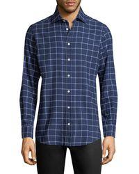 Luciano Barbera - Checkered Print Sportshirt - Lyst