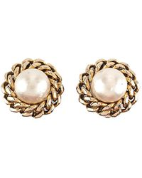 Chanel - Faux Pearl Gold-tone Clip-on Earrings - Lyst