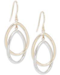 Saks Fifth Avenue - Gold Oval Drop Earrings - Lyst