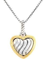 David Yurman - David Yurman Cable Heart 18k & Silver Necklace - Lyst