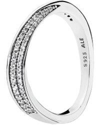 PANDORA - Silver Cz Elegant Waves Ring - Lyst