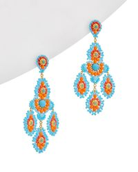 Miguel Ases - 18k Plated Turquoise Beaded Drop Earrings - Lyst
