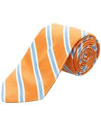 Ike Behar - Orange Royal Oak Stripe Silk Tie - Lyst
