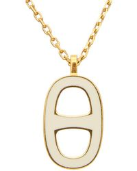 Hermès - Gold-tone & White Enamel Chained Ancre Necklace - Lyst