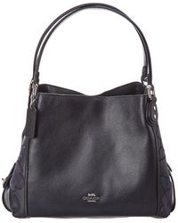 3f80ef2e21 Coach Leather And Suede Shoulder Bag in Blue - Lyst
