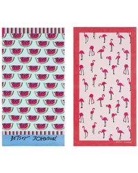 Betsey Johnson Watermelon Picnic/flamingo Set Of 2 Strut Beach Towels