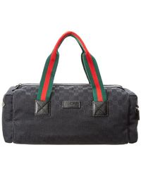 Gucci - Black GG Supreme Canvas & Leather Duffle Bag - Lyst