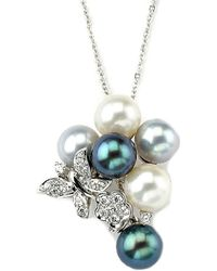 Samuel B Fine Jewelry - Samuel B. Fine Jewelry 14k 0.14 Ct. Tw. Diamond & 4mm Pearl Necklace - Lyst