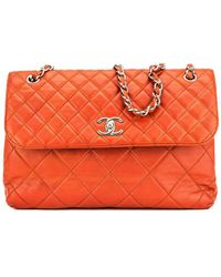 f6219550f895 Chanel - Red Quilted Lambskin Leather Maxi Single Flap Bag - Lyst