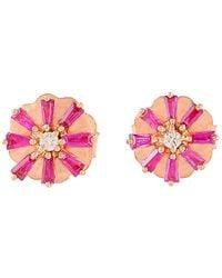 Socheec - Color Stone Jewelry 18k Rose Gold 0.72 Ct. Tw. Diamond & Gemstone Studs - Lyst