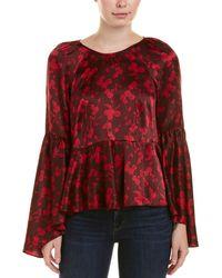 Cinq À Sept - Woman Avalon Fluted Floral-print Silk-satin Blouse Plum - Lyst