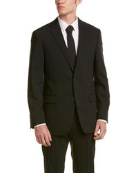 Ike Behar | 2pc Wool Smart Suit With Flat Front Pant | Lyst