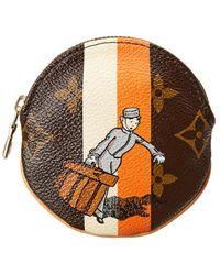 Louis Vuitton - Limited Edition Orange Groom Monogram Canvas Porte Monnaie Round - Lyst