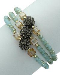 Sparkling Sage - 14k Plated Crystal & Resin Bracelet - Lyst