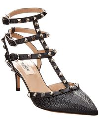 Valentino - Cage Rockstud 65 Rolling Leather Ankle Strap Pump - Lyst