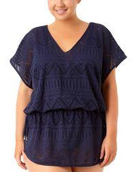 Anne Cole - Plus Crochet Side Tie Tunic - Lyst