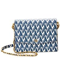 0603c3f56ea Tory Burch Duet Chain Embellished Shoulder Bag in Blue - Lyst