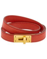 Hermès - Red Epsom Leather Kelly Double Tour Bracelet - Lyst