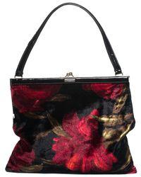 8537b3a782a3 Dolce   Gabbana - Black   Red Rose Velour Shoulder Bag - Lyst