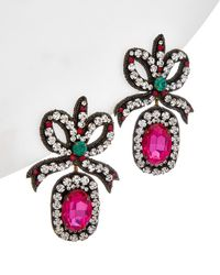 Gucci - Crystal Embroidered Bow Drop Earrings - Lyst