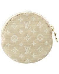 Louis Vuitton - Beige Monogram Mini Lin Canvas Porte Monnaie Round - Lyst