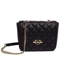 d713decb106 Love Moschino Borsa Embossed Logo Shoulder Bag in Gray - Lyst