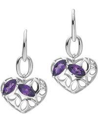 Di Modolo - Silver Amethyst Heart Earrings - Lyst