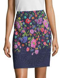 Oscar de la Renta - Floral Pencil Skirt - Lyst