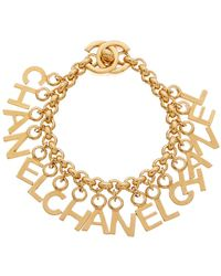 Chanel - Gold-tone Letters Charm Bracelet - Lyst