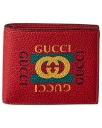 Gucci - Logo Print Leather Bifold Wallet - Lyst