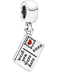Pandora | Silver Enamel Wish You Were Here Dangle Charm | Lyst