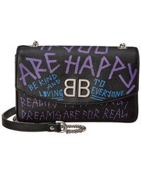 Balenciaga - Bb Graffiti Leather Shoulder Bag - Lyst