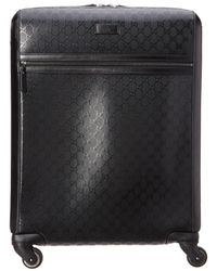 Gucci - Black Imprime & Leather Carry-on Suitcase - Lyst