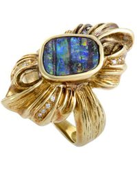 Heritage - 18k 0.12 Ct. Tw. Diamond & Fire Opal Ring - Lyst