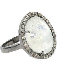 Adornia - Fine Jewellery Silver 4.40 Ct. Tw. Diamond Moonstone Ring - Lyst