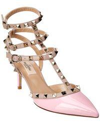 Valentino - Rockstud 65 Patent Ankle Strap Pump - Lyst